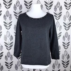 GAP cropped grey sweatshirt with beaded detailing